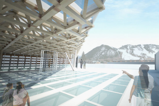 Mountain views from the rooftop sculpture park. (Shigeru Ban Architects)