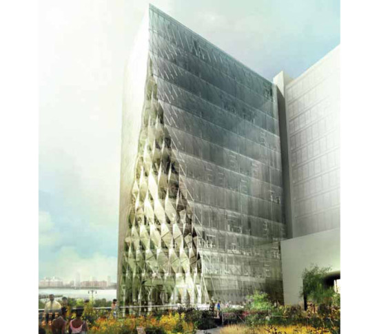 RENDERING OF JEANNE GANG'S PROPOSED TOWER ALONG NEW YORK'S HIGH LINE. (STUDIO GANG ARCHITECTS)