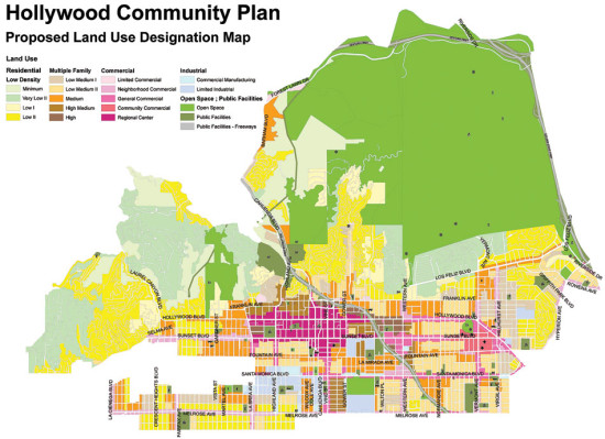 Proposed Land Use Designation Map from the Hollywood Community Plan (LA City Planning Department)