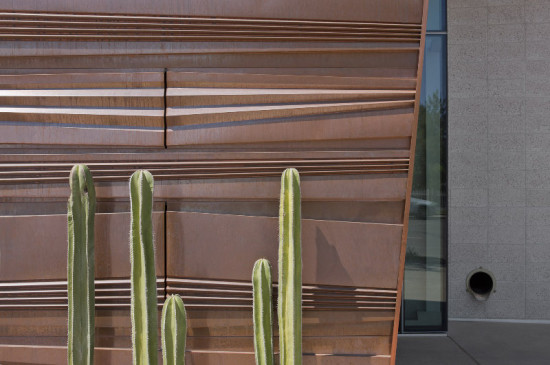 The folds in the copper skin mimic the stratification of the nearby mountains. (Bill Timmerman)