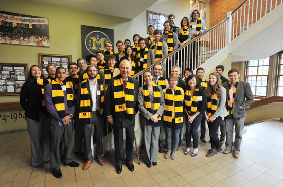 Alfred Taubman with University of Michigan's Taubman Scholars. (University of MIchigan)