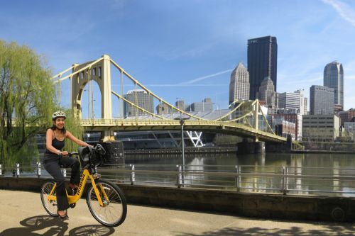An early rendering of Pittsburgh bike-share. (Courtesy Pittsburgh Bike Share)