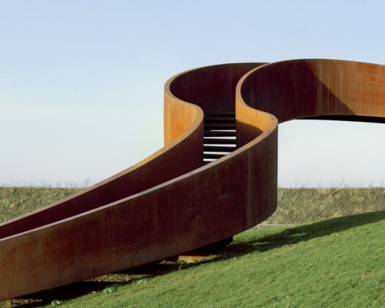 The staircase was fabricated from a single piece of Cor-ten steel. (Sander Meisner)