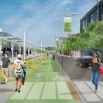 New bike lanes and commuter rail. (Courtesy Sasaki Associates)