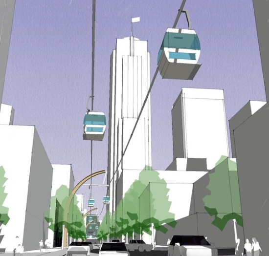 The proposed Union Street Aerial Gondola Project in downtown Seattle (Via Architecture)