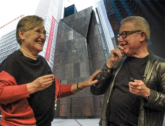 Nina and Daniel Libeskind (Photo by TK) and the American Folk Art Museum (Photo by Dan Nguyen / Flickr; Montage by AN)