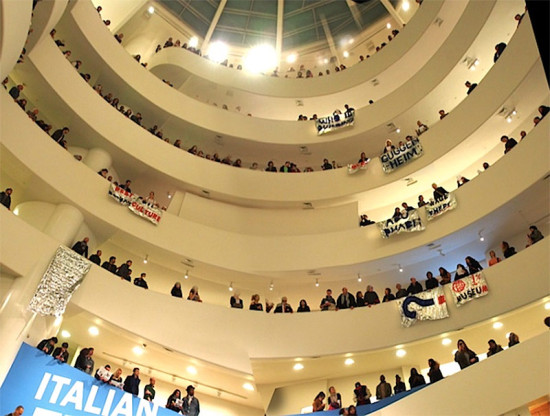 Protesters inside the Guggenheim. (Courtesy Gulf Ultra Luxury Faction)