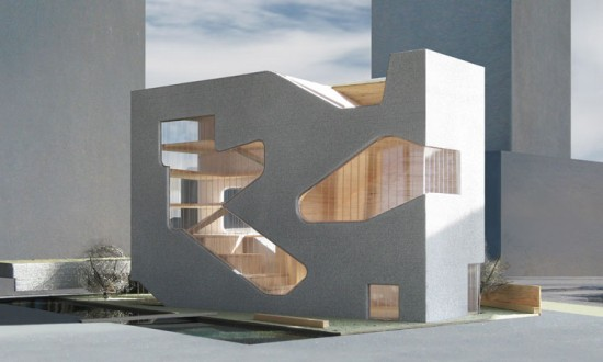 Rendering for Hunters Point Community Library. (Courtesy Steven Holl Architects)