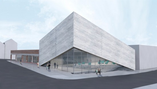 BIG's new plan lifts up to reveal a glassy entrance. (Kimball Art Museum)