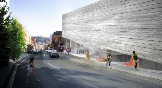 Lateral view of the new museum design (Kimball Art Center)