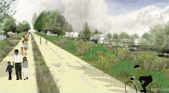 Concept drawings show the view looking west on a 49th street trail that could be part of the Green Healthy Neighborhoods program. (City of Chicago)