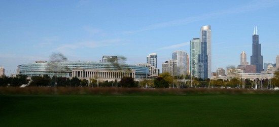 Chicago's Soldier Field (left) against the South Loop skyline. (--Mike-- / Flickr)