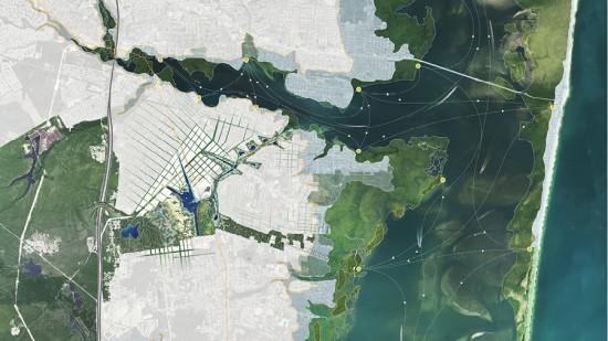 Aerial view of Sasaki's plan. (Courtesy Sasaki)