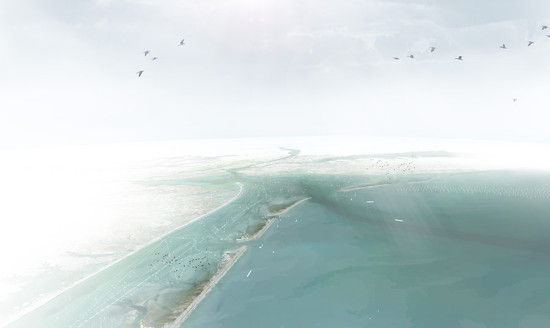 Aerial rendering of the chain of Dunes. (Courtesy WXY and West 8)