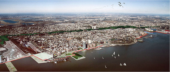 Aerial rendering of OMA's plan. (Courtesy OMA)