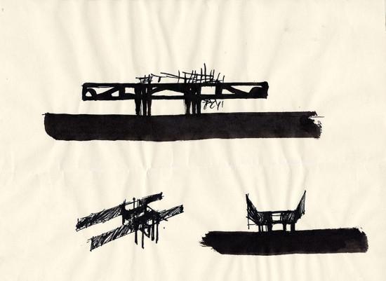 Hollein building sketches, 1958.