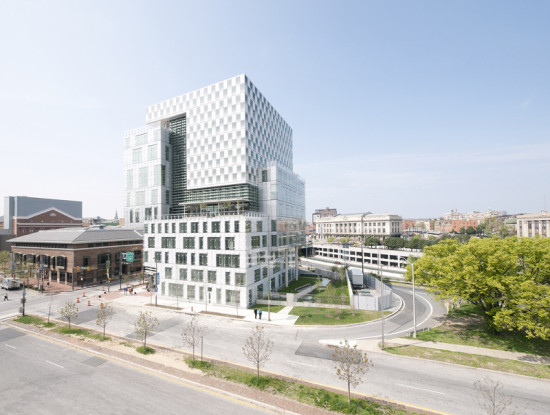 The John and Frances Angelos Law Center is on track to achieve LEED Platinum status. (David Matthiessen)