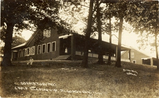 Camp Algonquin Dormitory No. 1 and Dining Hall. Historic undated photo, left to right, Dormitory No. 1 and Dining Hall  (Courtesy McHenry County Historical Society)