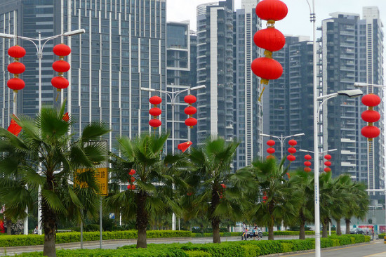 Chinese new year flags and lanterns in Shenzhen, the poster-city for rapid urbanization in China. (Flickr / dcmaster)