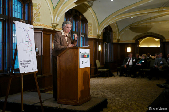 Cook County President Toni Preckwinkle speaking at the Transit Future campaign press conference. (Steven vance)