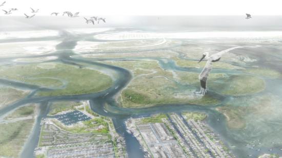 Aerial rendering of Interboro's plan. (Courtesy Interboro)