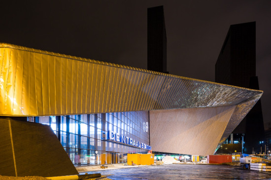 The station's monumental south entrance is framed in stainless steel. (Jannes Linders for Team CS)