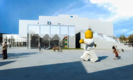 Exterior rendering with a running LEGO man outside museum. (Courtesy BIG)