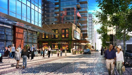 Shoppers explore the new Wharf. (Courtesy Perkins Eastman)