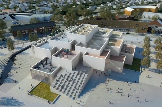 Aerial rendering of the LEGO museum. (Courtesy BIG)