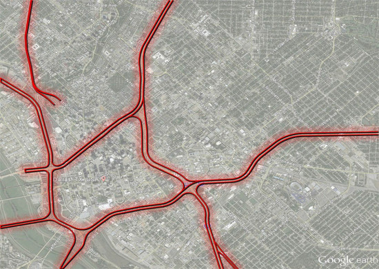 Before the wrecking ball hits: Dallas' current routes of highway transportation.(Courtesy A New Dallas)