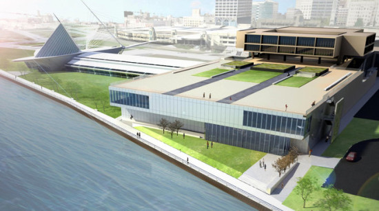 An updated design adds a cantilever, but the original lead architect says he recently left the design process. (Milwaukee Art Museum)