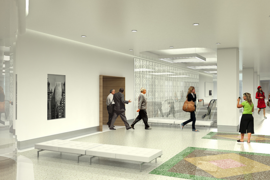 Renderings of the lobby after the basement's reconstruction (Photo Courtesty of pagethink.com)