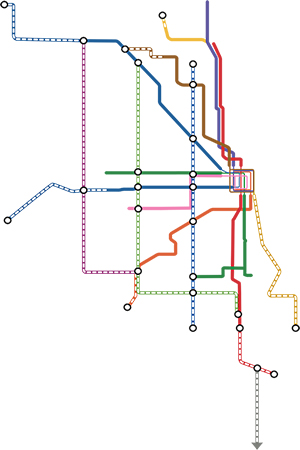 Proposed expansion of transit in Chicago. (Courtesy transit future)