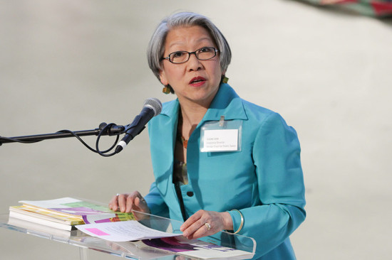 Design trust director Susan Chin addresses the audience. (Samuel LaHoz / Courtesy Design Trust)
