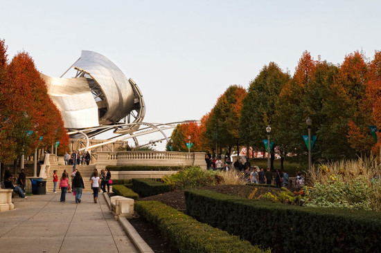 Early fall in Millennium Park looking toward Frank Gehry's Pritzker Pavilion. (Jonathan / Flickr)