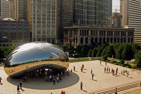 "Aerial view of the Cloud Gate sculpture, known locally as ""The Bean."" (Guido45 / Flickr)"