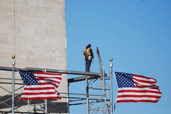 Scaffolding around the Washington Monument. (John Sonderman / Flickr)