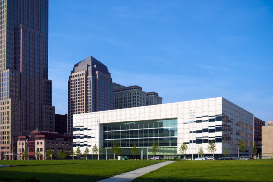 Wrapped in textured precast concrete, LMN Architects' Global Center for Health Innovation is a high-tech addition to Cleveland's civic core. (Ed LaCasse, LaCasse Photography)