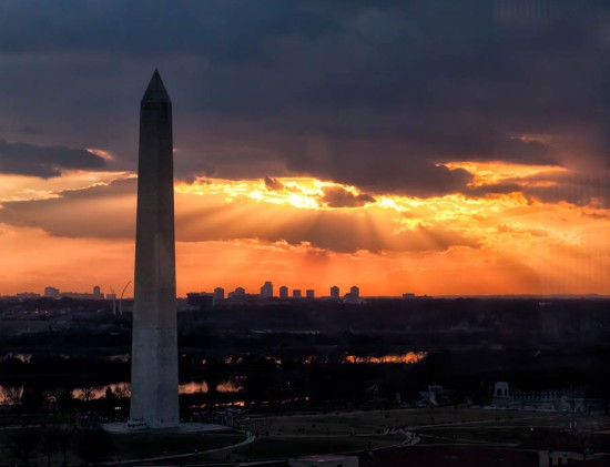 The Washington Monument stands tall over Washington, D.C. at sunset. (Victoria Pickering / Flickr)