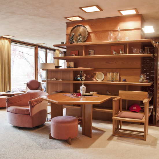 Interiors of Frank Lloyd Wright's Laurent House. (Wright Auction House)