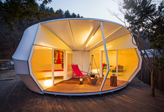 ArchiWorkshop's semi-permanent glamping structures reimagine the conventional platform tent. (Courtesy ArchiWorkshop)