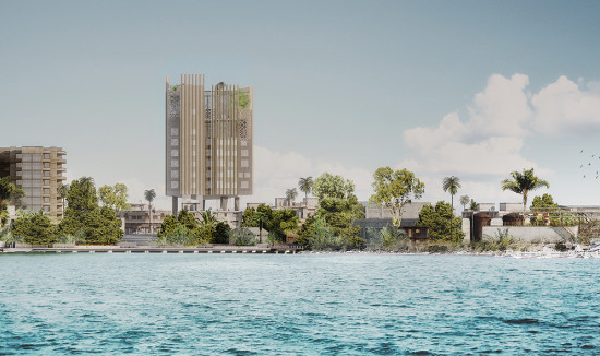 The Africannews center will be a prominent addition to the Brazzaville skyline. (Courtesy Mikou Studio)