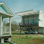 An elevated model home in Biloxi, Mississippi, designed by architect Marlon Blackwell in 2009 as part of an Architecture for Humanity Initiative, incorporates resilient and affordable design with porch living—an important part of local culture. (Timothy Hursley)