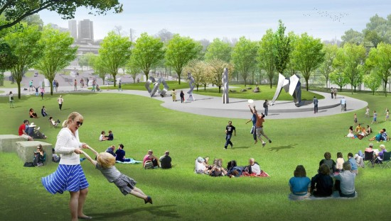 Plans for a new Skate Park in Grant Park blend landscape design and features for skateboarding. (Chicago Park District)