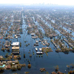 New Orleans, Louisiana, 2005. Flood waters in New Orleans, located below sea level, were slow to dissipate after levees failed during Hurricane Katrina, causing billions in damages. (NOAA Photo Library, National Weather Service Collection, Lieut. Commander Mike Moran, NOAA Corps, NMAO/AOC)