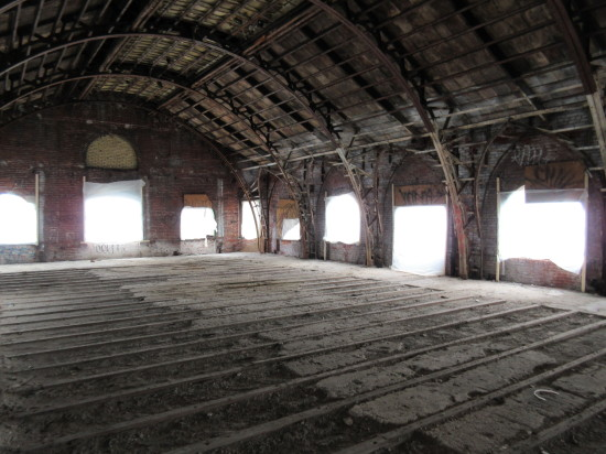 The former International Peace Movement worship hall, which could become event space. (Henry Melcher / AN)