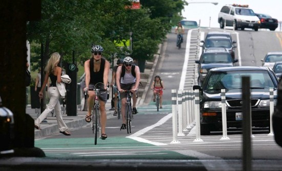 Chicago's first protected bike lane—photographed at Kinzie and Jefferson streets Monday, July 25, 2011—is cited as a model for Cincinnati's Central Parkway plan.  (E. Jason Wambsgans/ Chicago Tribune)