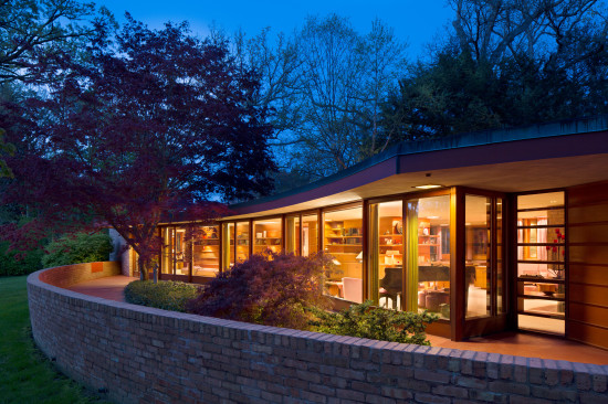 Frank Lloyd Wright's Laurent House at dusk. (Nels Akerlund)