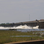 The Morganza Spillway, completed in 1954 by the U.S. Army Corps of Engineers, has been opened twice—in 1973 and here, in 2011—flooding farmland to protect more populated areas such as nearby New Orleans. (FEMA / Daniel Llargues, May 13, 2011)
