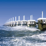 Completed in 1986 in the Netherlands, the Eastern Scheldt Storm Surge barrier has movable gates that can close when floodwaters threaten. ( Rijkswaterstaat)